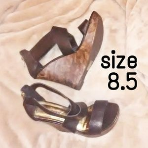 "NEW. SIZE 8.5. BLACK SANDALS W/4"" heel"